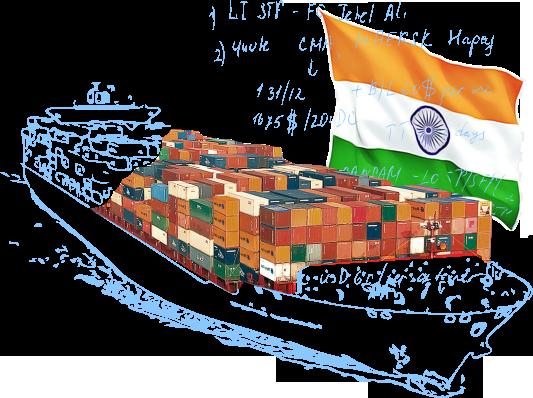 Морские контейнерные перевозки в/из Индии