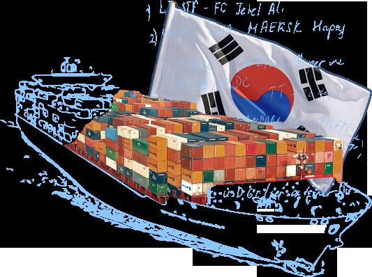 Морские контейнерные перевозки в/из Южной Кореи
